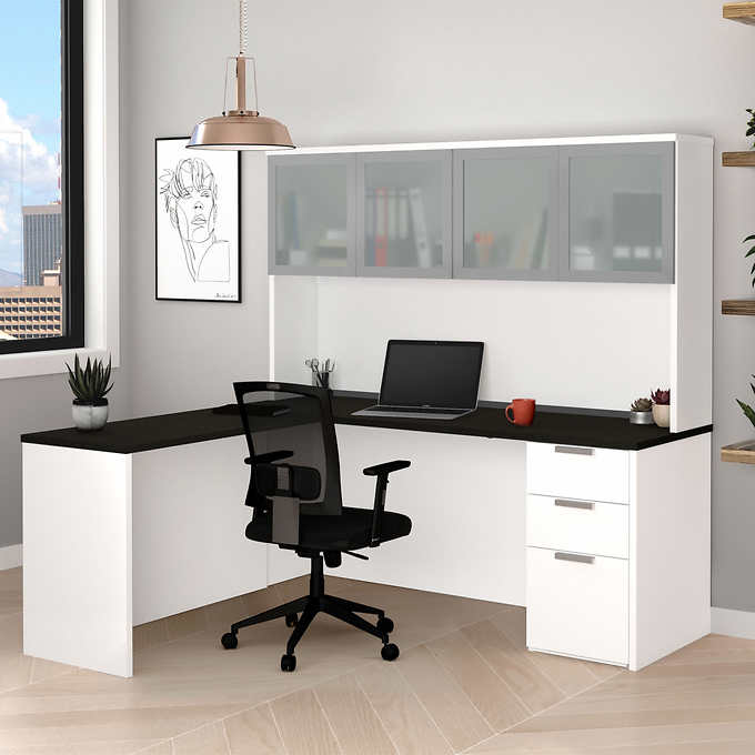 Theory L Desk With Hutch White Gray