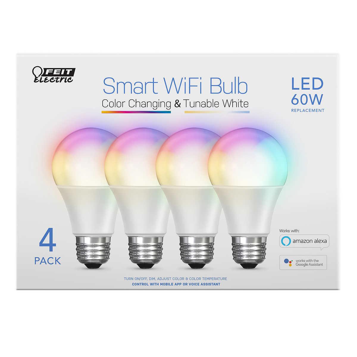 Wifi Light Bulb >> Feit Wifi Smart Bulbs 4 Pack