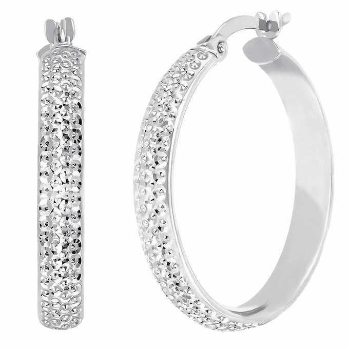 14kt Gold Diamond Cut Hoop Earrings