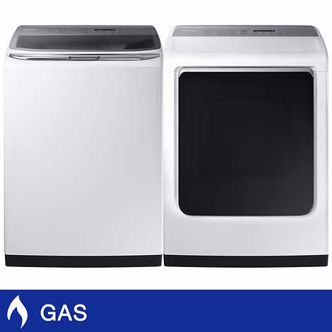 Samsung 5.4CuFt Top Load Washer with Activewash and 7.4CuFt GAS Dryer with Multi-Steam Technology