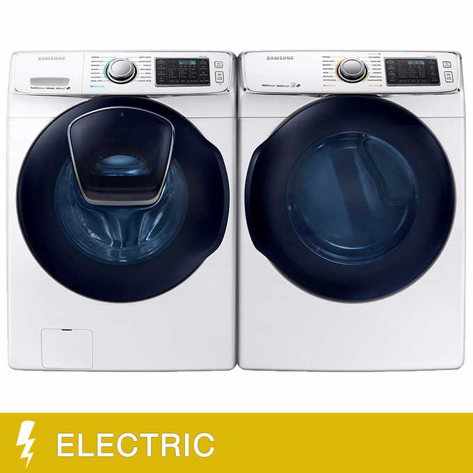 Samsung 4 5CuFt Front Load Washer and 7 5CuFt Electric Dryer with  Multi-Steam Technology
