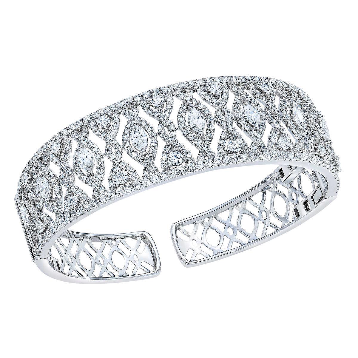 995e62d6b ... Round Brilliant 6.65 ctw VS2 Clarity, I Color Diamond 18kt White Gold  Cuff. 1 1