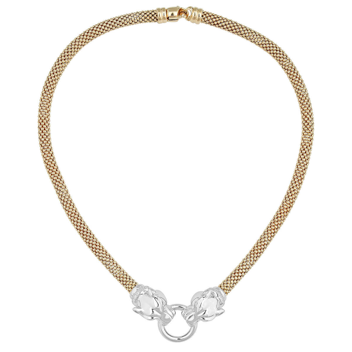 0887cabf9 ... 14KT Two-tone Gold Double Panther Head Necklace. 1 1
