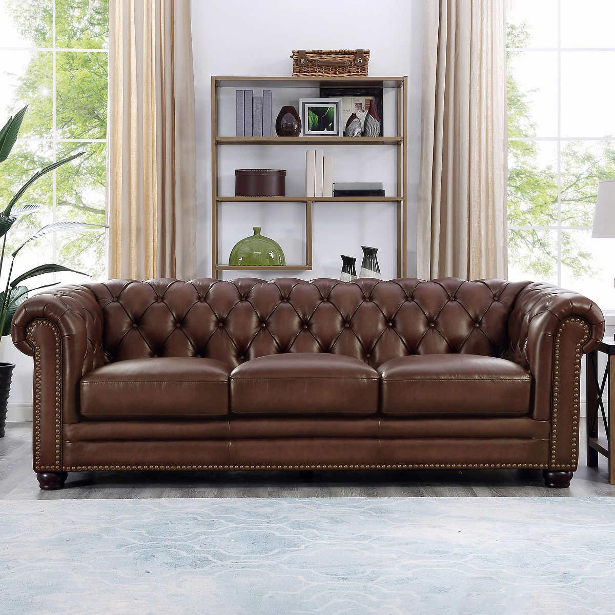 Allington Top Grain Leather Sofa Brown