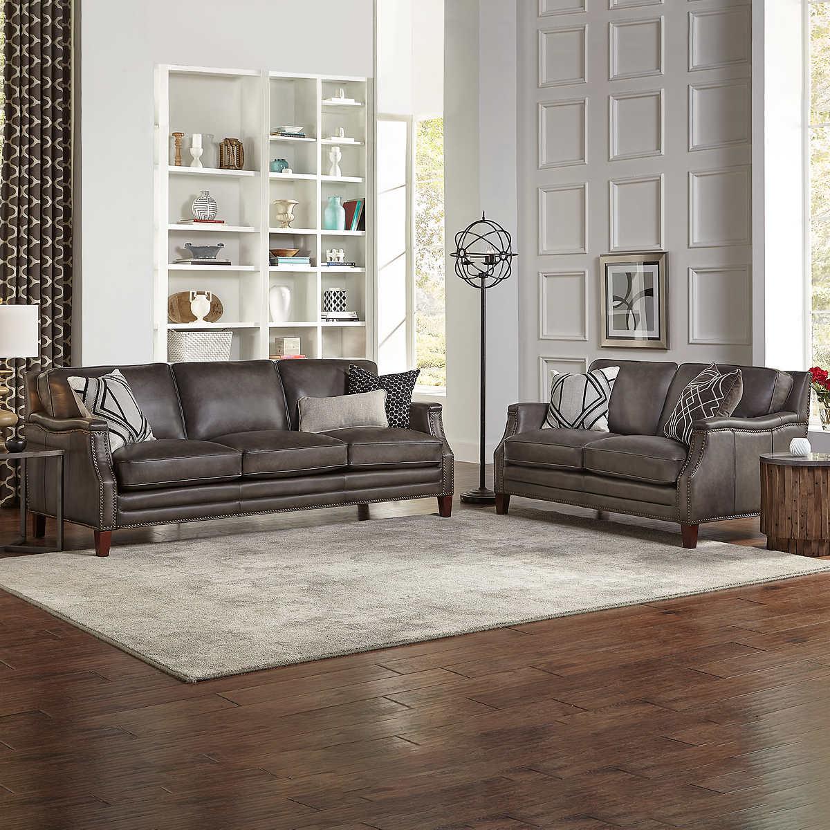 Peachy Edgewood 2 Piece Top Grain Leather Set Sofa Loveseat Inzonedesignstudio Interior Chair Design Inzonedesignstudiocom