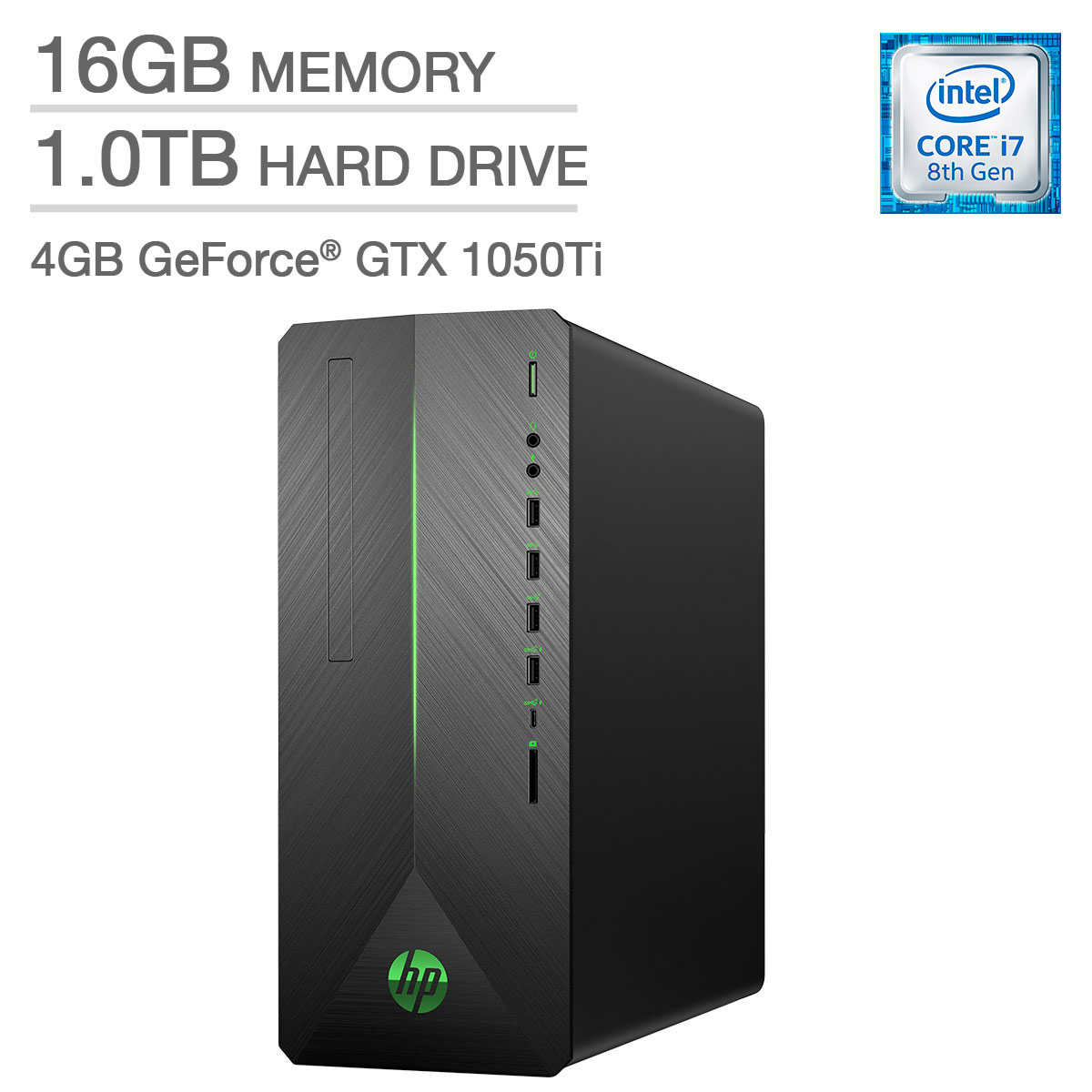 HP Pavilion Gaming Desktop - Intel Core i7 - GeForce GTX 1050 Ti