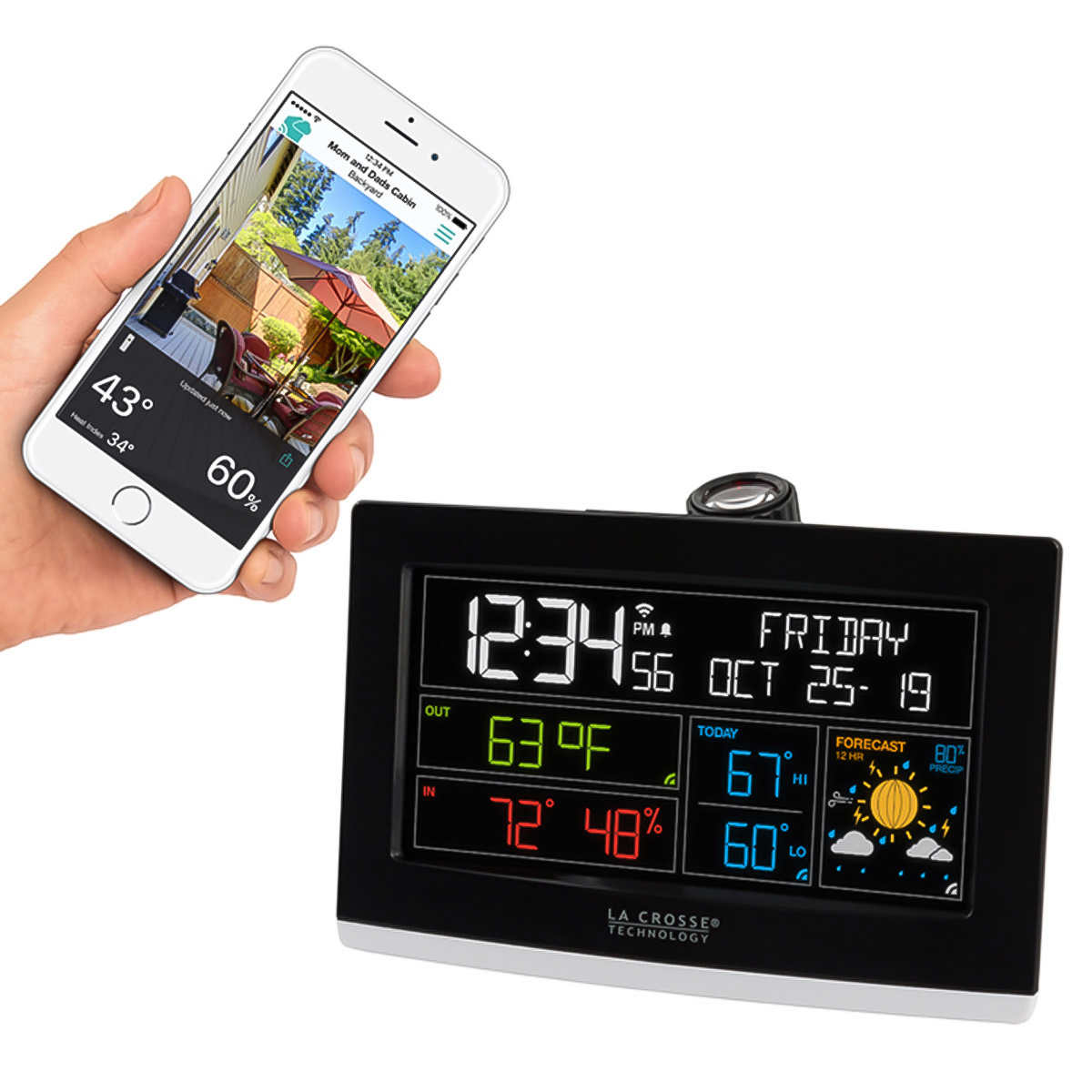 La Crosse Projection Alarm Clock with Weather Information