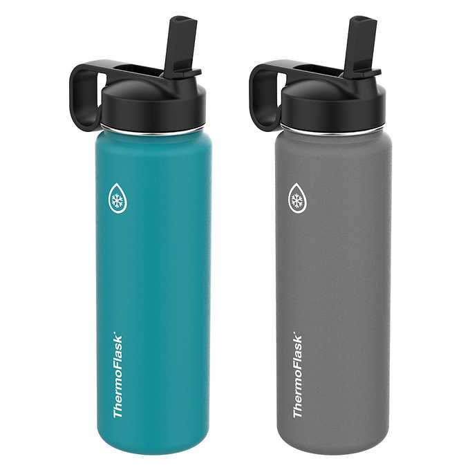 f88afa3275 Thermoflask Stainless Steel 24oz Water Bottle with Straw Lid, 2-pack