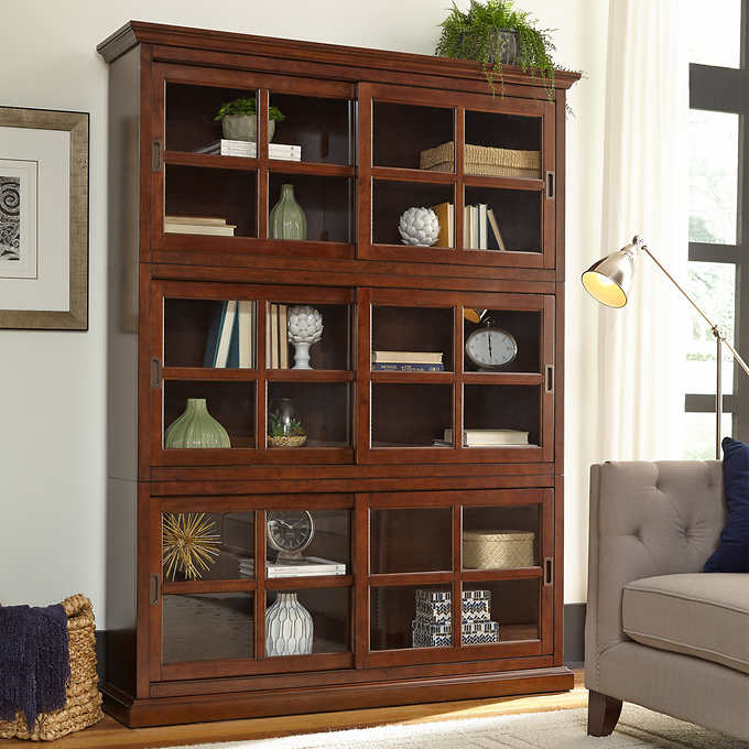 Charlotte Stackable Bookcase With Glass Door 3 Pack