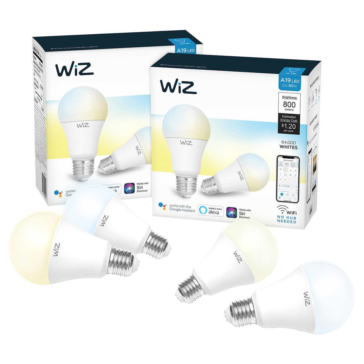 WiZ WiFi Smart Bulb A-19 White, 4-pack