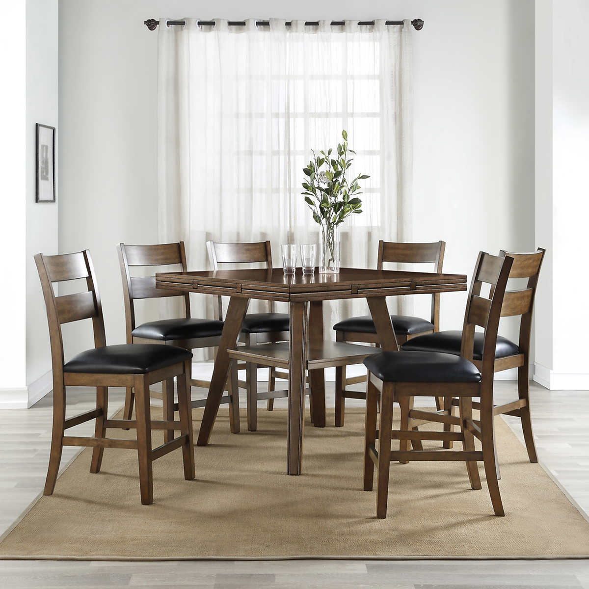 Dillon 7 Piece Counter Height Square To Round Dining Set 1