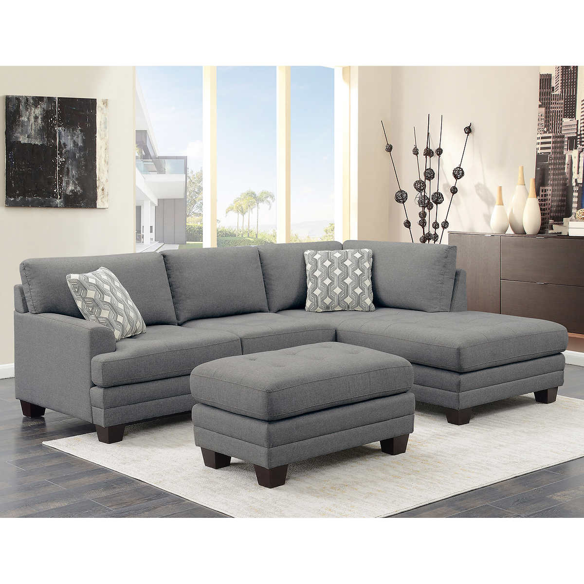 buy popular c7153 8fe19 Mitch Fabric Sectional with Ottoman