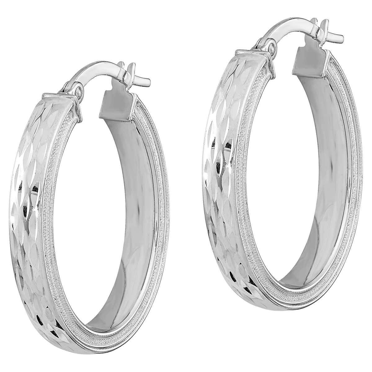 14kt White Gold Diamond Cut Oval Hoop Earrings 1