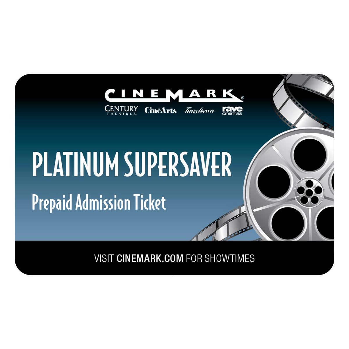 Cinemark Theatres Platinum Supersaver Movie eTickets, 4-pack