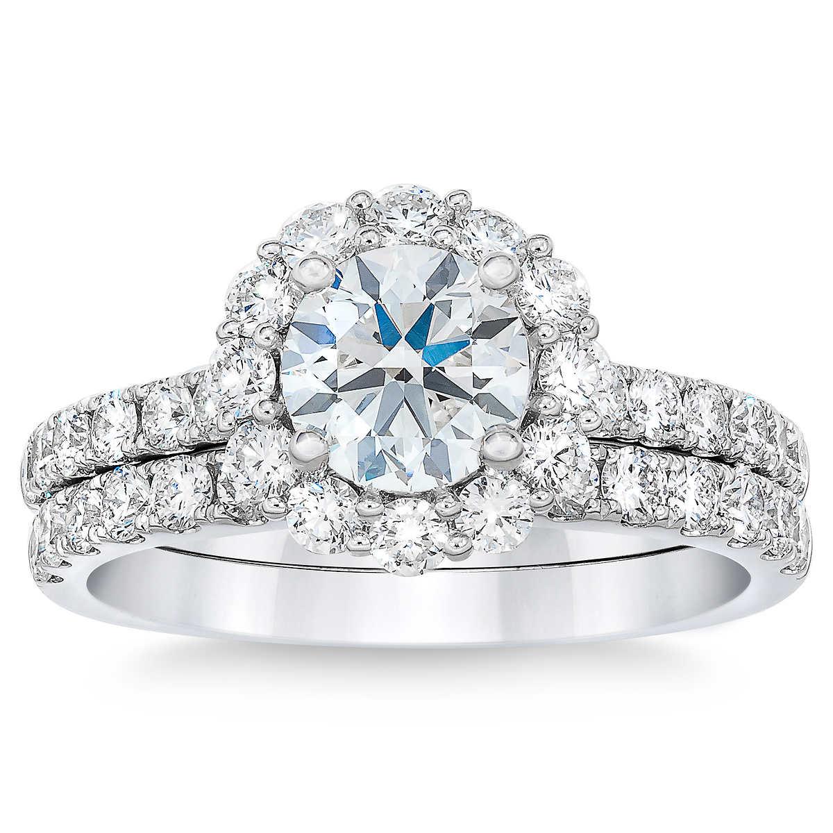e6c7e4194b9 Round Brilliant 2.10 ctw VS2 Clarity, I Color Diamond Platinum Wedding Set