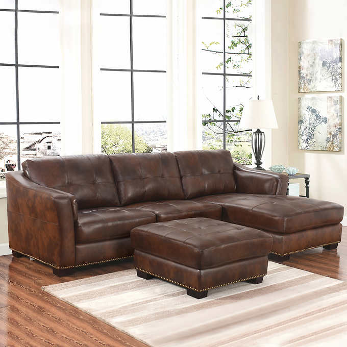 Chelsie Top Grain Leather Chaise Sectional And Ottoman Living Room Set