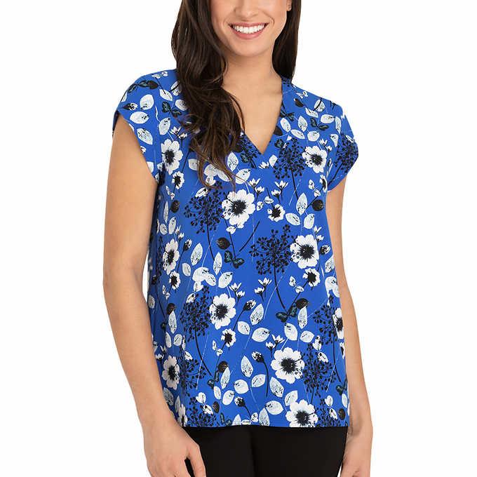 e193372b148272 Hilary Radley Ladies  Short Sleeve Blouse. blue 1 blue 1