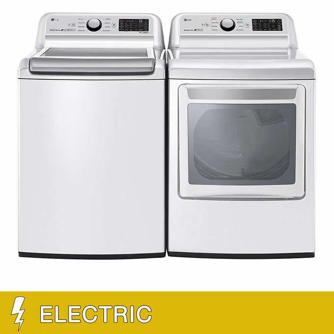 LG 5 0CuFt Washer and 7 3CuFt ELECTRIC WiFi Enabled Top Load