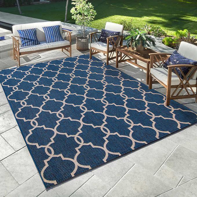Indoor Outdoor Rug Tremont Trellis Blue 1