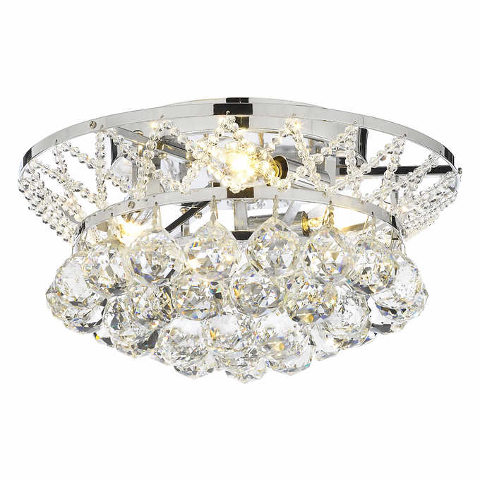 Lighting By Pecaso Charlotte Flush Mount Light Fixture With Heirloom Grandcut Crystal