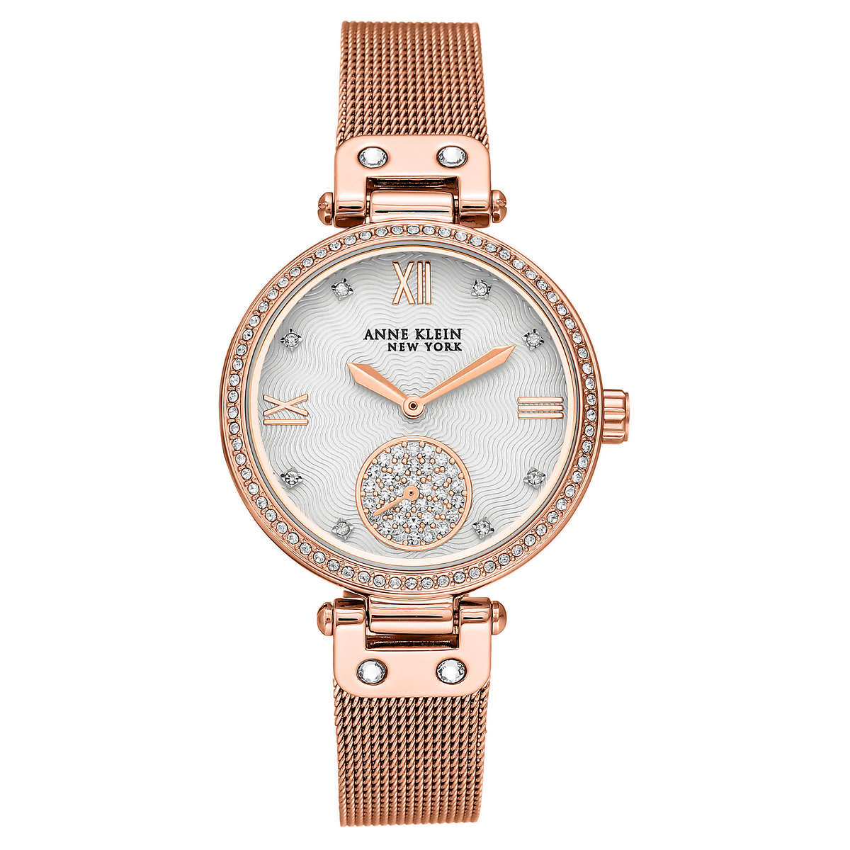Anne Klein New York Rose Gold Tone Mesh Las Bracelet Watch With Swarovski Crystals
