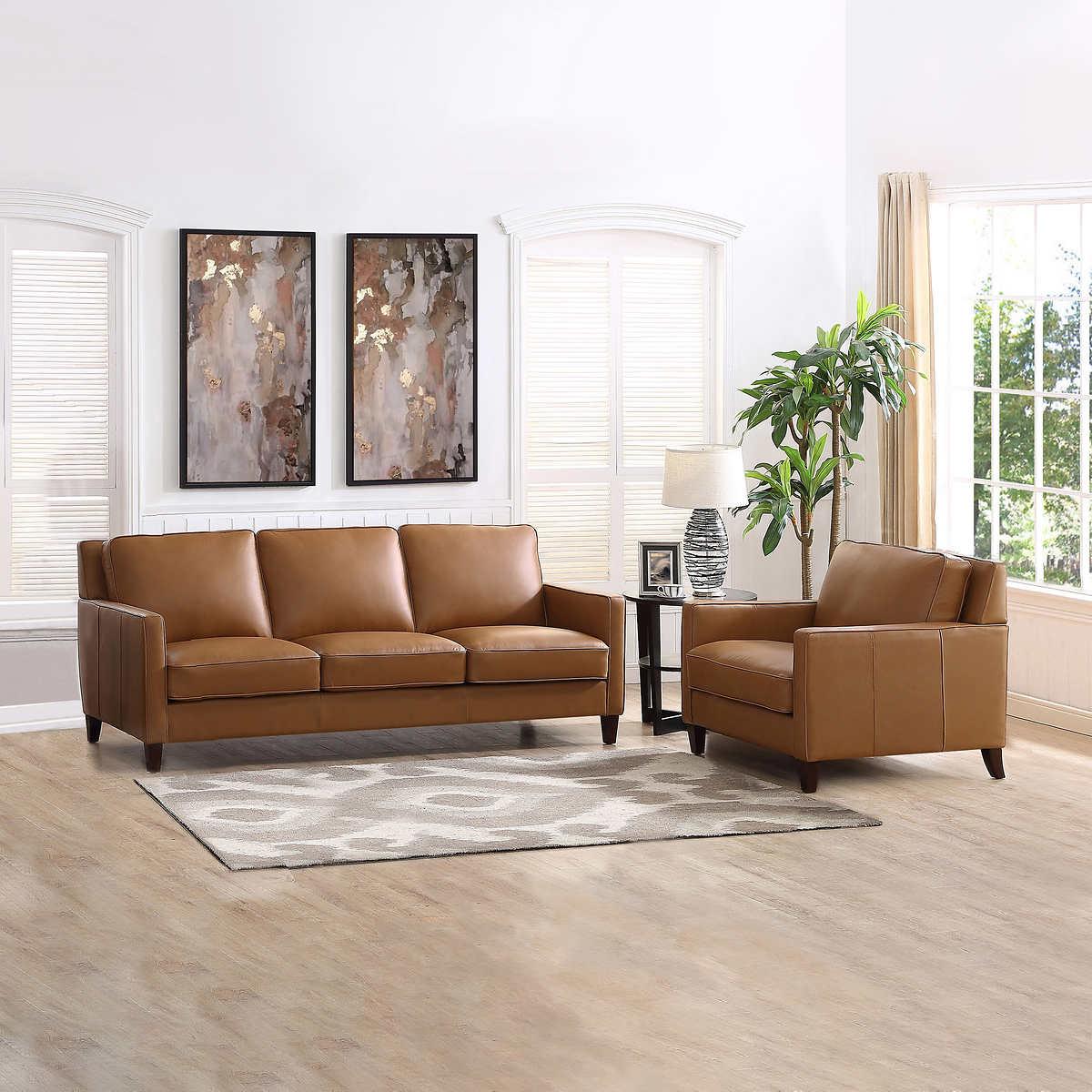 West Park 2-piece Top Grain Leather Set - Sofa, Chair