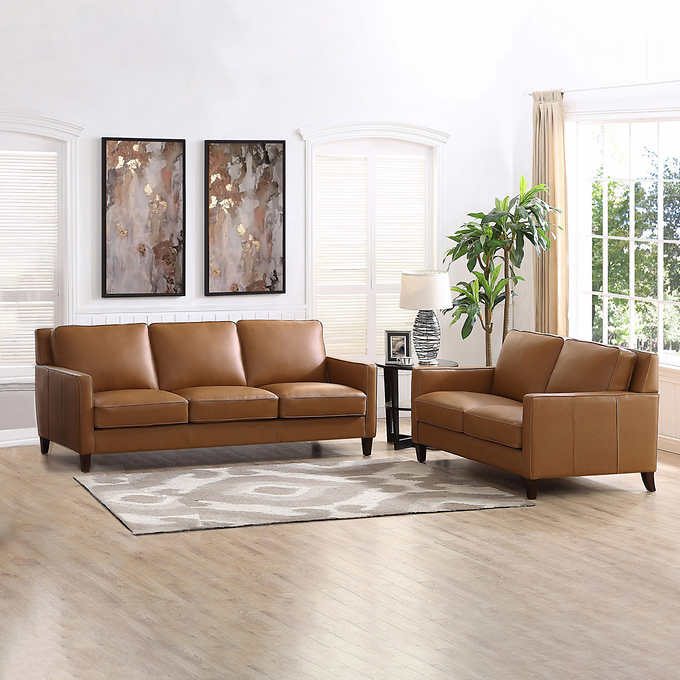 West Park 2 Piece Leather Set Sofa Loveseat