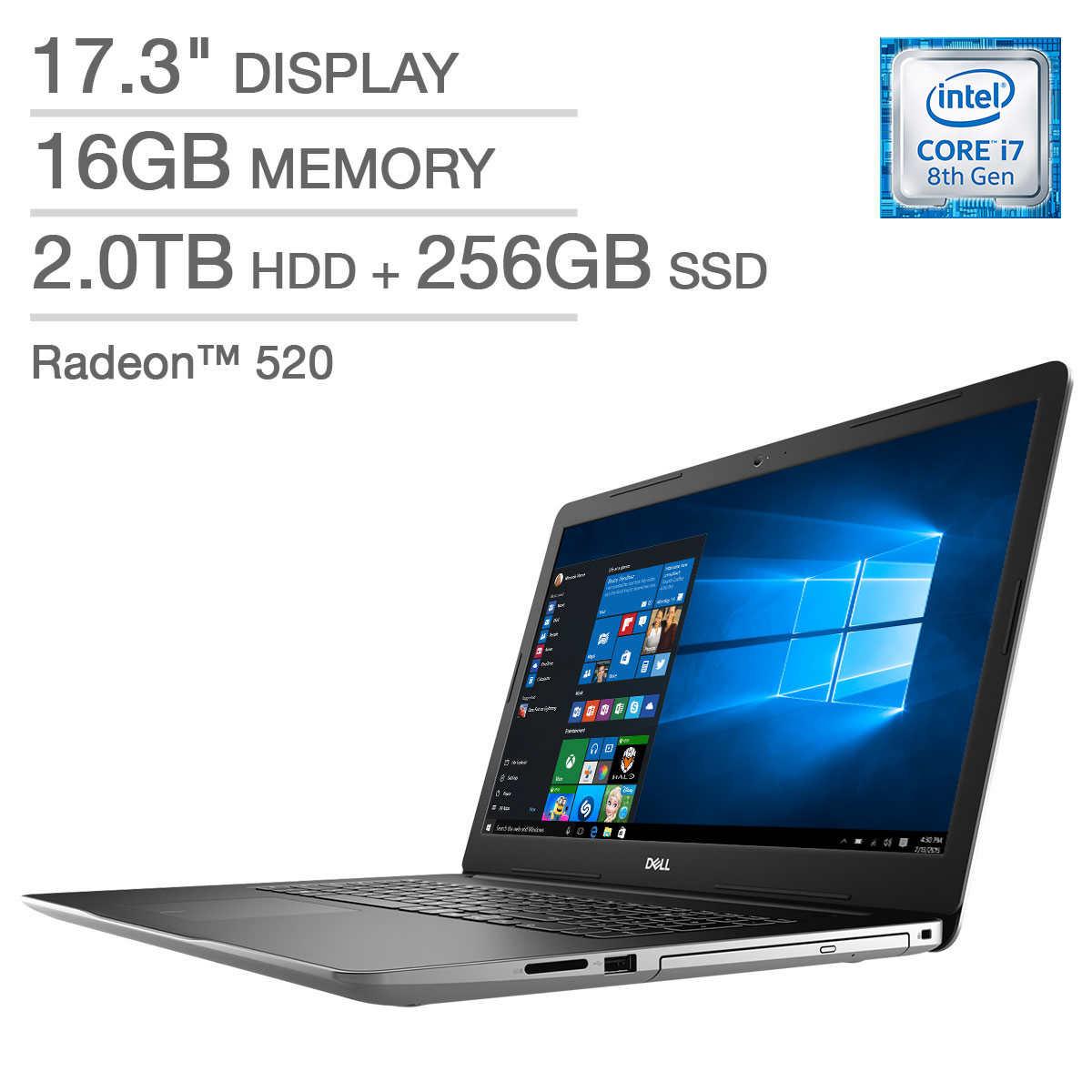 Dell Inspiron 17 3000 Series Laptop - Intel Core i7 - Radeon 520 - 1080p -  Windows 10 Pro