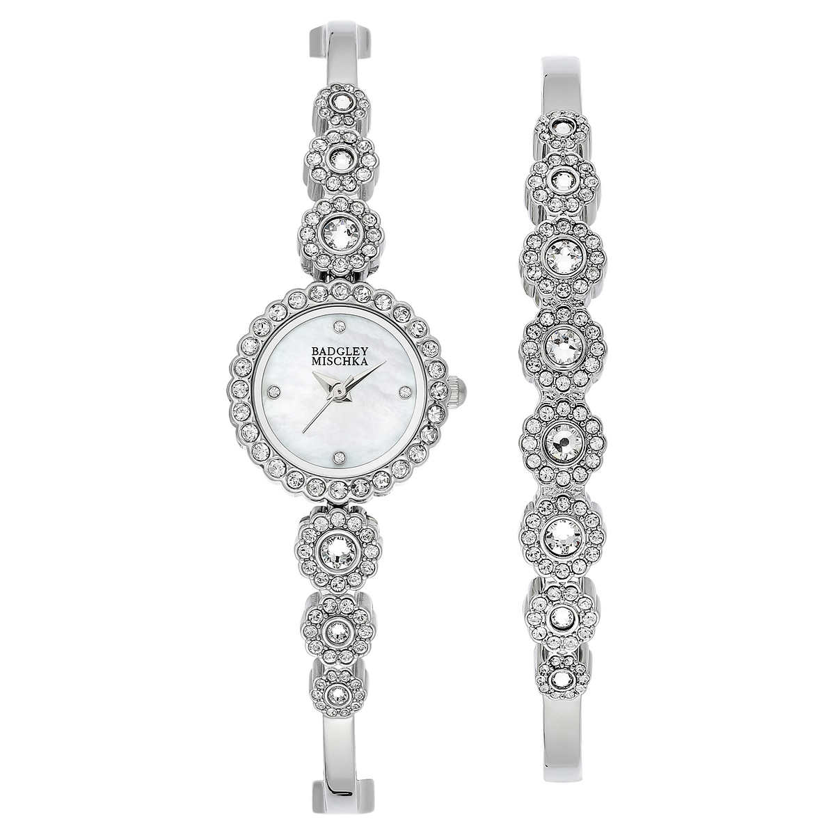 7ee1db6c2 Badgley Mischka Silver-Tone Swarovski Crystal Ladies Watch