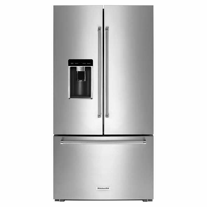KitchenAid 23.8CuFt Counter-Depth French-Door Refrigerator with Platinum  Interior, Preserva Food Care System in PrintShield Finish
