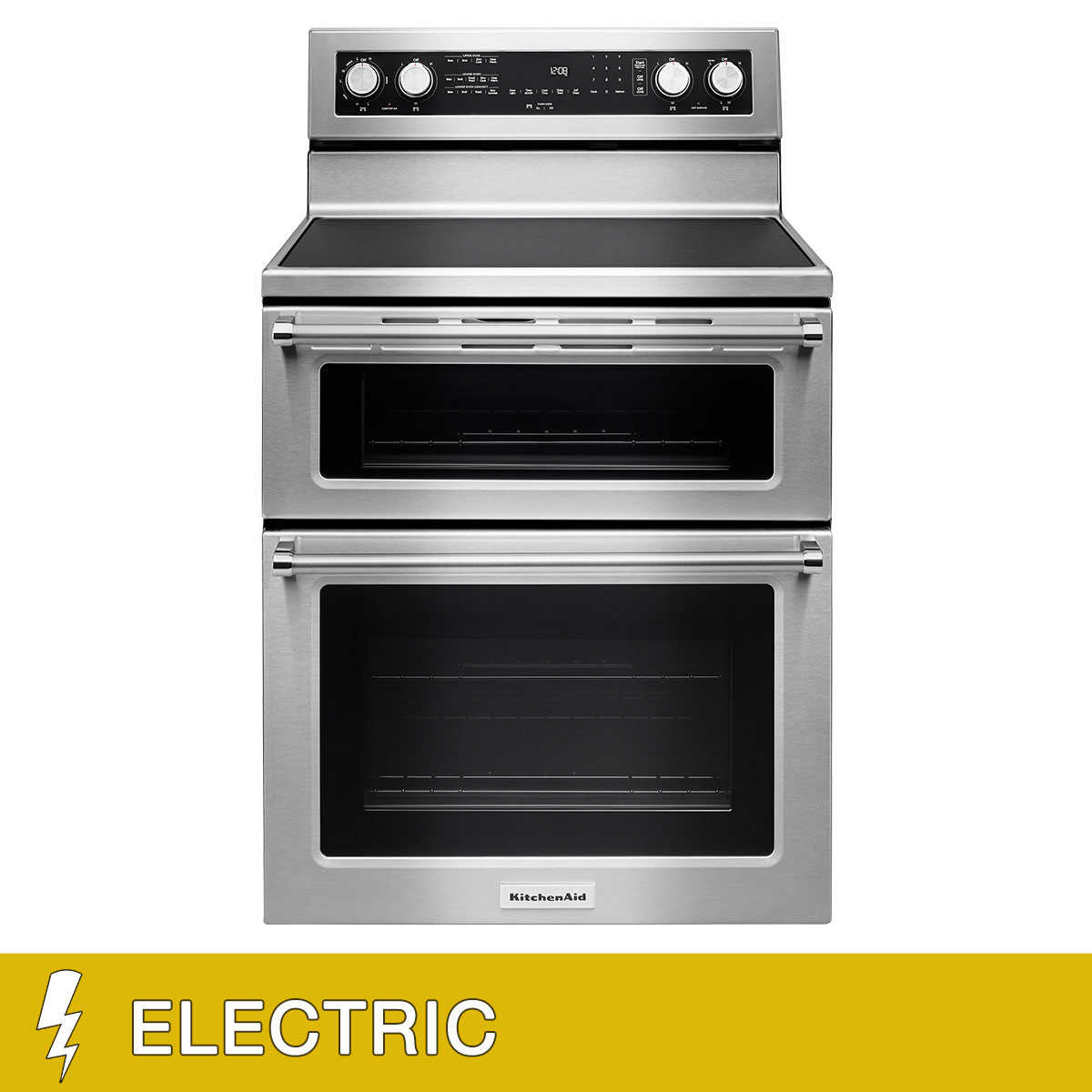KitchenAid 6.7CuFt Freestanding ELECTRIC Double Oven Convection Range with  5 Element Cooktop in Stainless Steel