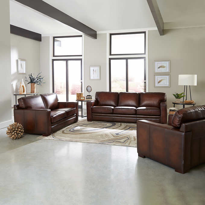 Phenomenal Luca 3 Piece Top Grain Leather Set Dailytribune Chair Design For Home Dailytribuneorg