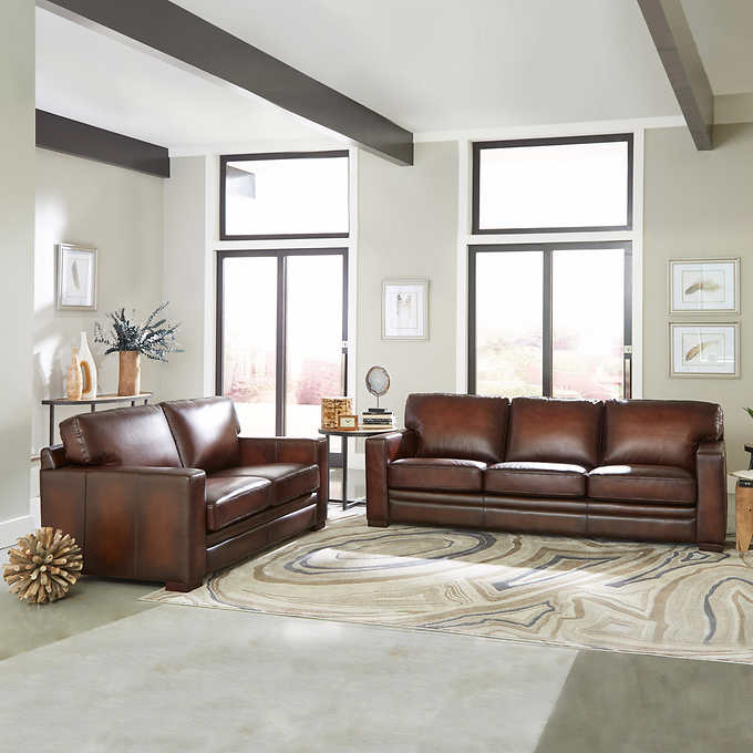 Luca 2-piece Top Grain Leather Set - Sofa, Loveseat