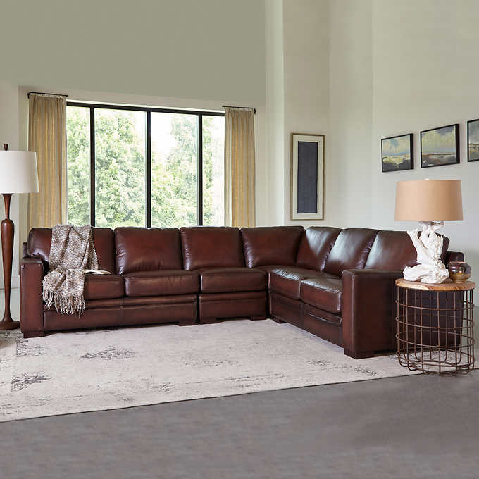 Peachy Luca 4 Piece Top Grain Leather Sectional Forskolin Free Trial Chair Design Images Forskolin Free Trialorg