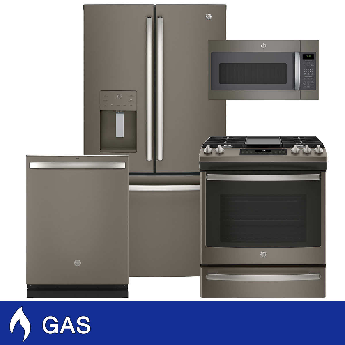 GE 4-piece GAS 25.6CuFt French Door with Spill-Proof Shelves Kitchen Package