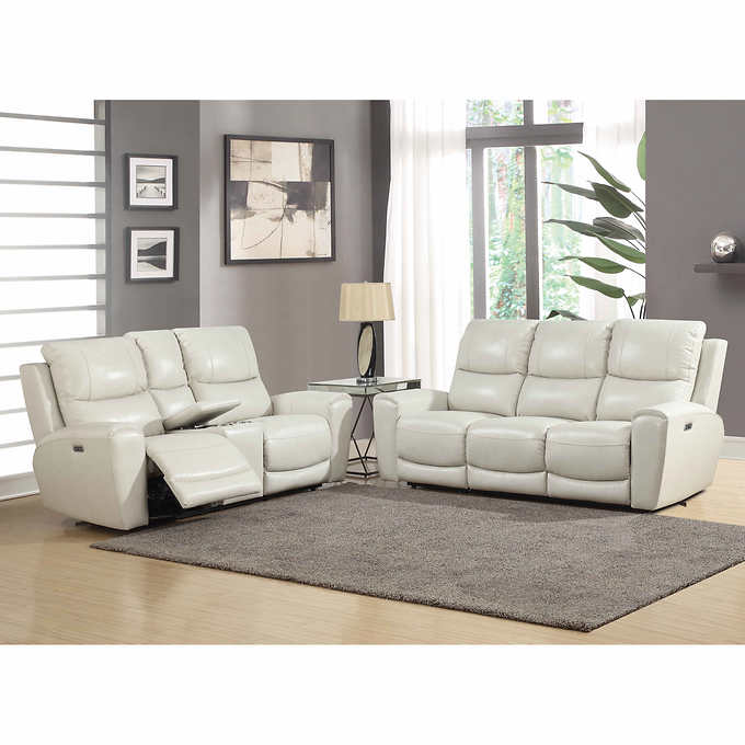 Outstanding Stoneleigh 2 Piece Leather Power Reclining Set With Power Headrests Creativecarmelina Interior Chair Design Creativecarmelinacom