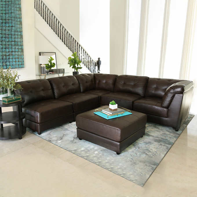 Awesome Erica 6 Piece Leather Modular Sectional Bralicious Painted Fabric Chair Ideas Braliciousco