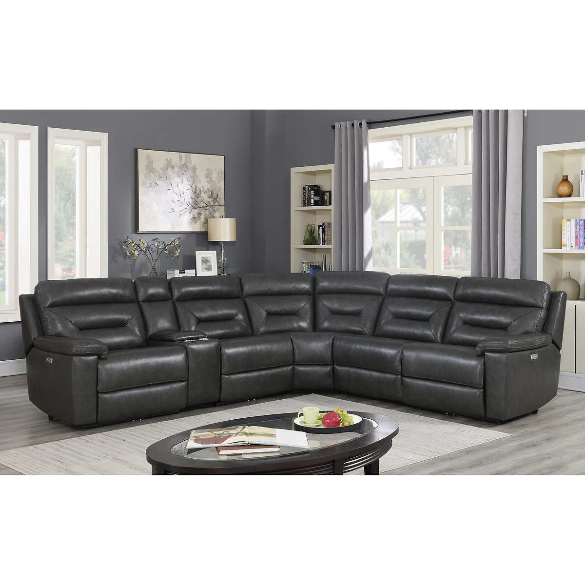 Corry 6 Piece Leather Power Reclining Sectional Sofa Gray