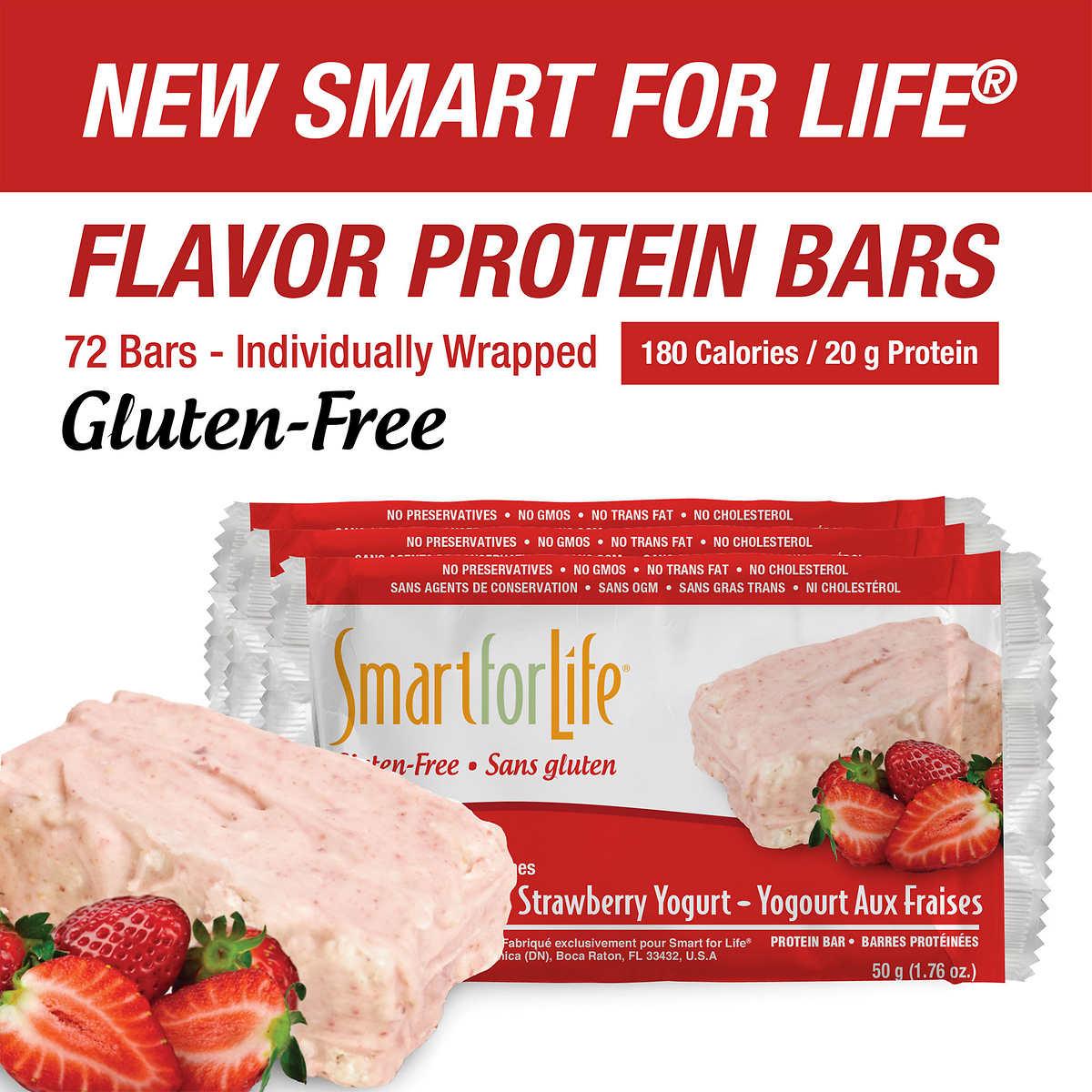 Smart For Life Strawberry Yogurt Gluten Free Protein Bars 72 Count