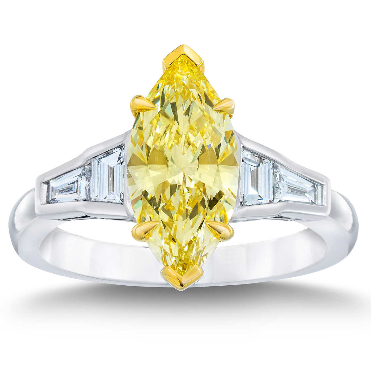 Marquise Cut 254 Ctw Vs1 Clarity, Fancy Yellow Diamond Platinum Ring