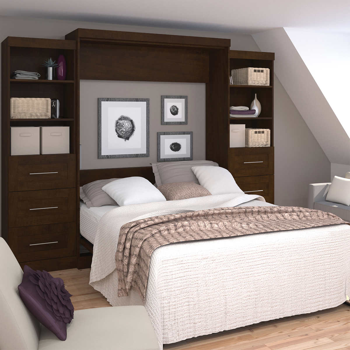 Boutique Queen Wall Bed With Two 25 Storage Units With Drawers In Brown