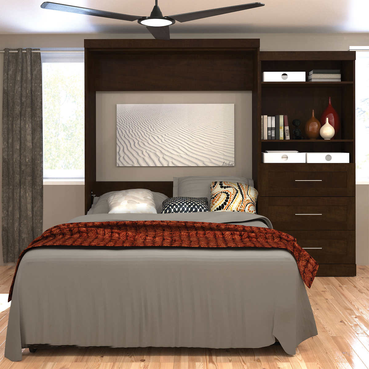 Boutique Queen Wall Bed With One 36 Storage Unit Drawers In Brown