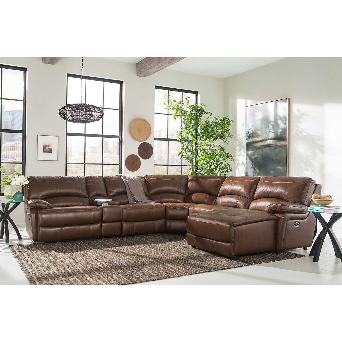 Maddie 6-piece Top Grain Leather Power-Reclining Modular Sectional - Leather Sofas & Sectionals Costco