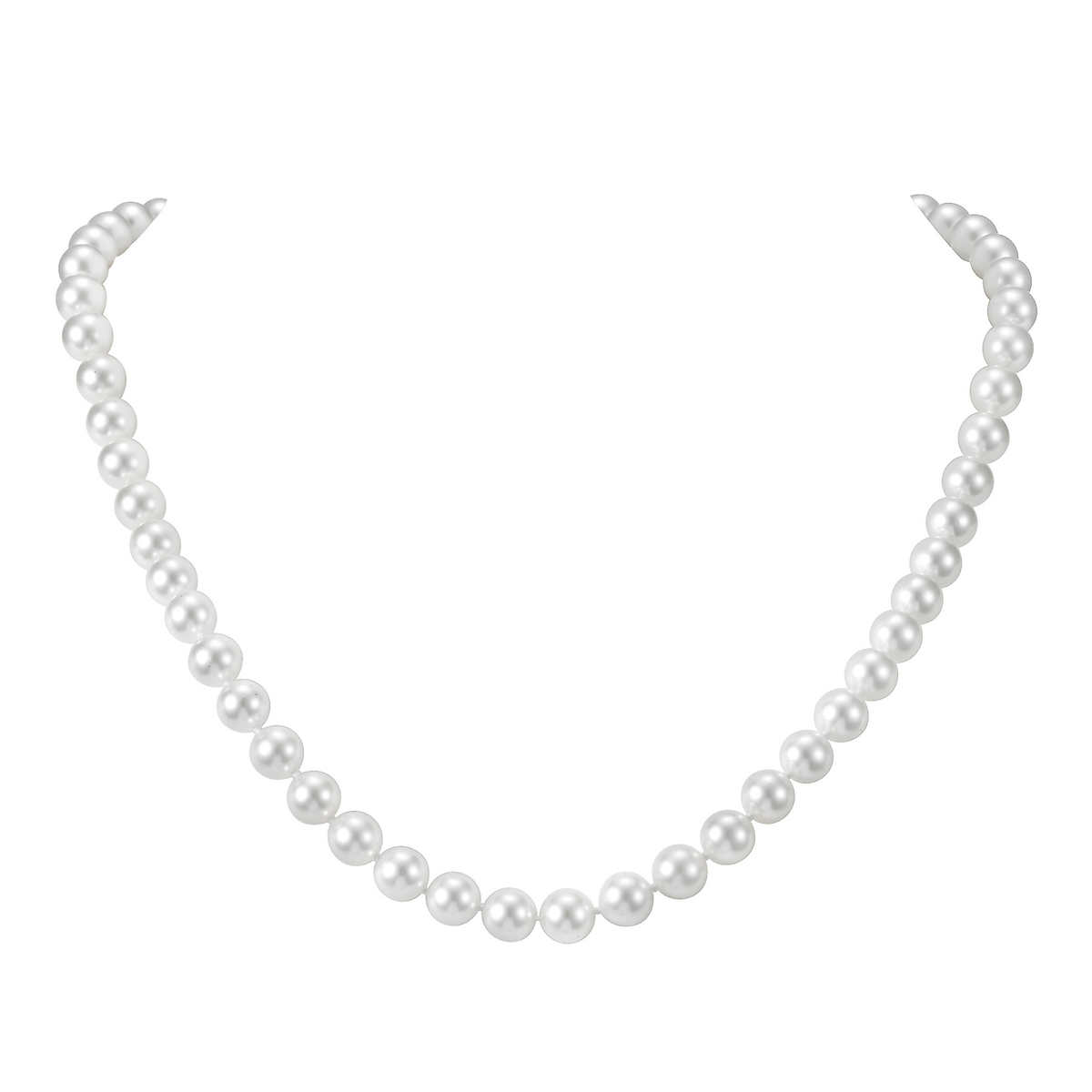 Akoya 775 Mm White Cultured Pearl 14kt White Gold Necklace