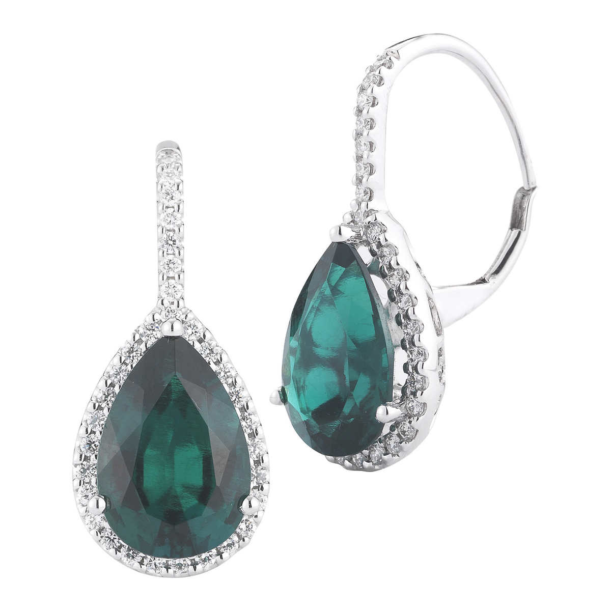 Lab Created Emerald And Diamond 14kt White Gold Earrings
