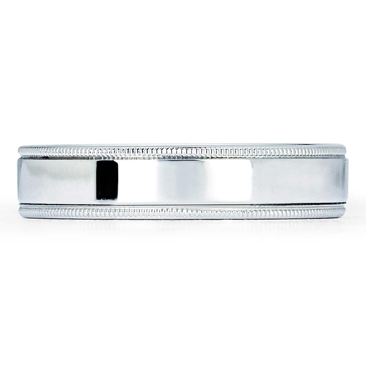 mens rings mens hammered wedding bands 5mm Mill Grain Comfort Fit Wedding Ring Platinum