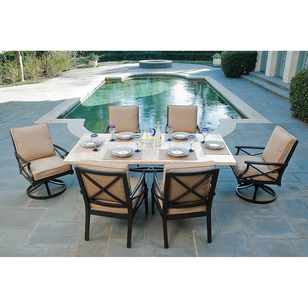 Patio furniture sets costco - Travers 7 Piece Patio Dining Set
