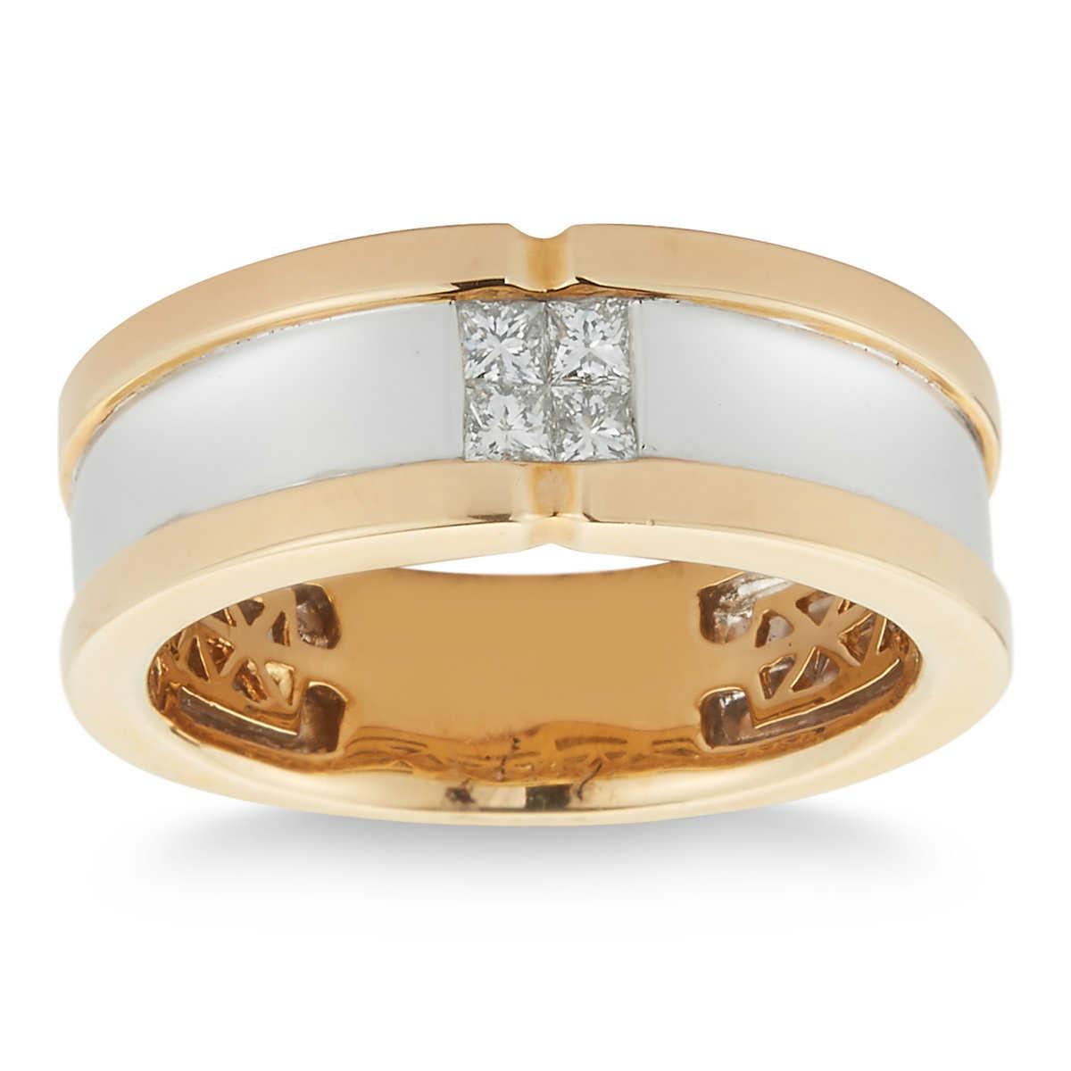 princess cut 033 ctw vs2 clarity i color diamond 14kt two tone mens ring