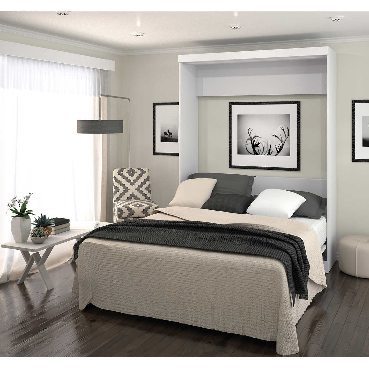 Boutique queen wall bed white click to zoom amipublicfo Choice Image
