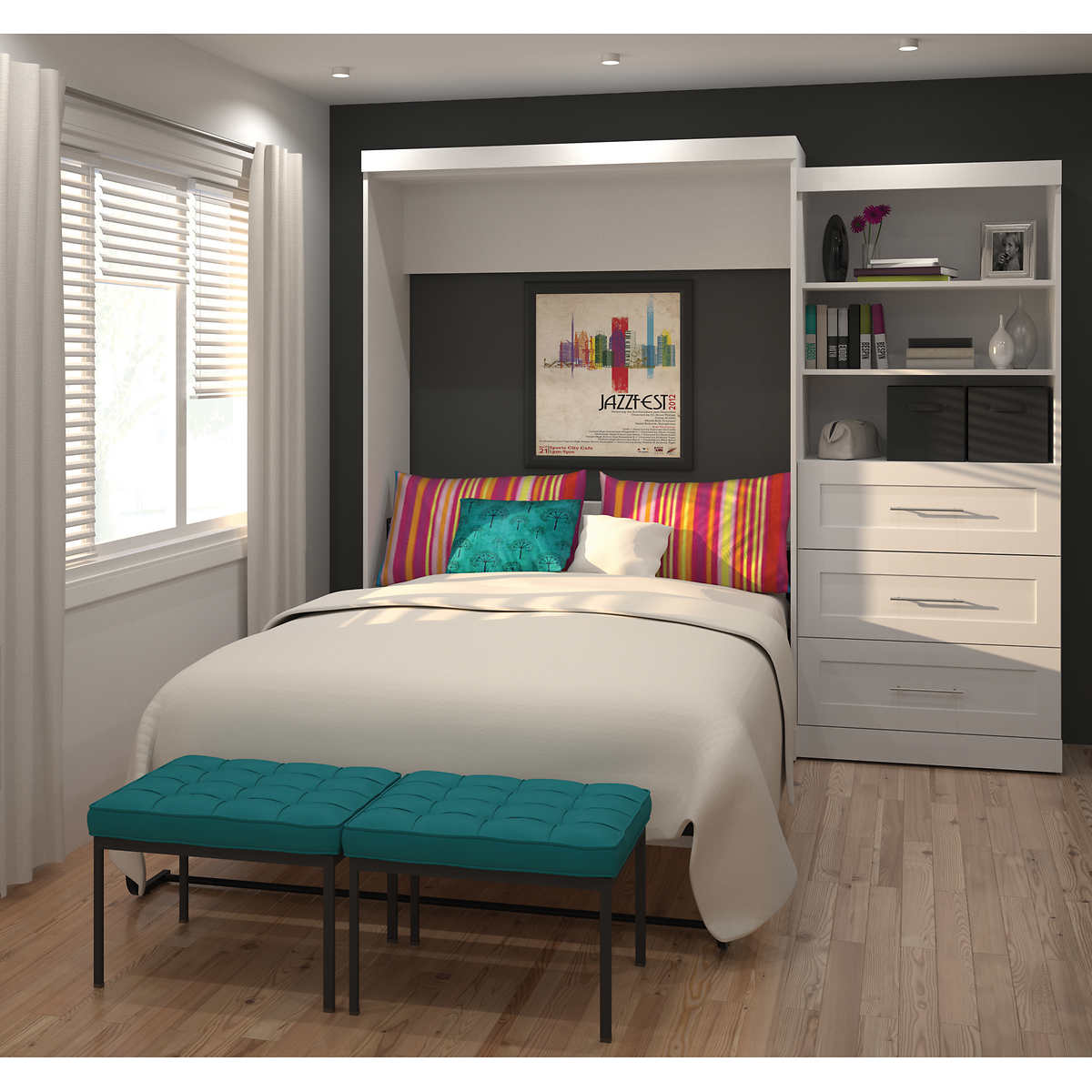 Boutique queen wall bed with one 36 storage unit with drawers in boutique queen wall bed with one 36 storage unit with drawers in white amipublicfo Gallery